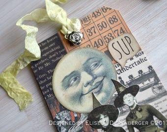 Mixed Media Halloween Keepsake Tag: Flirty Moon