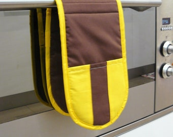 Double Oven Mitt - pot holder yellow and brown football inspired hawthorn