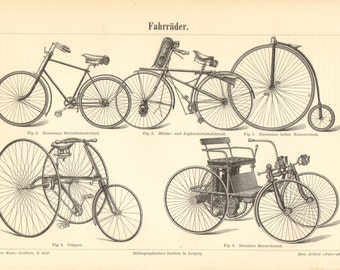 1894 Bicycles, Tricycles, Motorbicycle from the 19th Century Original Antique Engraving to Frame