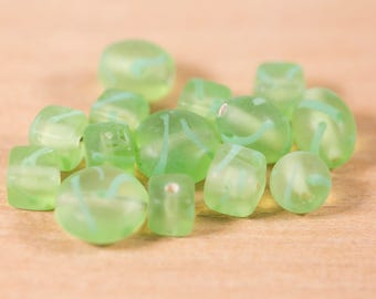 14 count mix lot 9mm to 16mm vintage glass faceted beads light lime green translucent rondelle bicone shaped destash