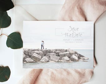 Engagement Photo Save the Date, Engagement Save the Dates, Photo Save the Date, Calligraphy Save the Date, Custom Save the Date