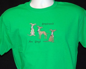 SS2 Embroidered Greyhound T shirt - Greyhounds Are Greyt