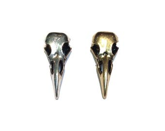 Silver and Gold Plated Brass Raven Skull Pendant