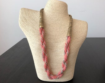 Pink Bead Necklace, Seed Bead Necklace, Multistrand Necklace, Beaded Necklace, boho necklace, Jewelry, Seed Bead Jewelry, Long Necklace