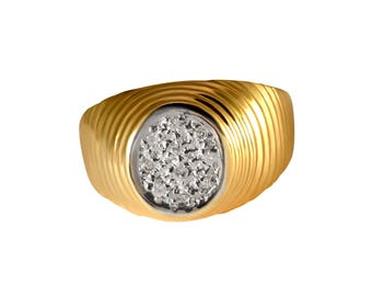 Two tone 9ct yellow gold bezel ring band