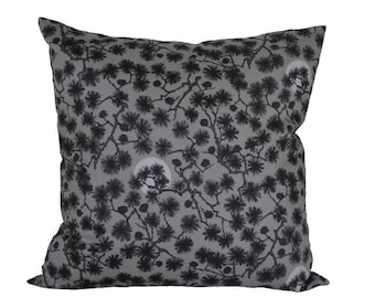 Pillow-cover with tree-print, grey & brown, tree-branch print, for decorative pillow, 50x50 cm/ 19,7x19,7 inch,
