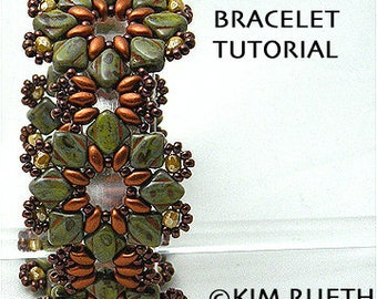 Beading Tutorial for Lone Star Blossom Bracelet with Silky beads and Super Duo beads