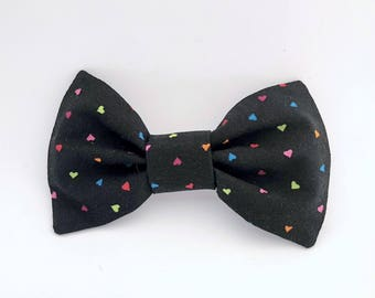 Black with Bright Multi-colored Heart Polka Dots Bow Tie Hair Clip