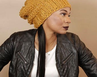 BLEEKER Slouchy Hat/Chunky Knit Slouch Hat/Chunky Rib Knit Slouch hat