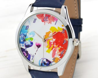 Watercolor Art Flowers Watch | Unique Present for Her | Unique Gifts for Mom | Women's Watches | Watercolor Jewelry | Free Shipping
