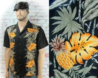 Men's Hawaiian shirt, Men's Aloha Tiki Shirt, men's tropical shirt - retro Hawaiian shirt -Men's Vacation Shirt, L (large)   # 16