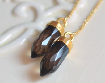 Long Smoky Quartz Earrings, Gold Spike Earrings, Chain Threaders, Real Gemstone Jewelry, Dark Brown Points, Free Shipping