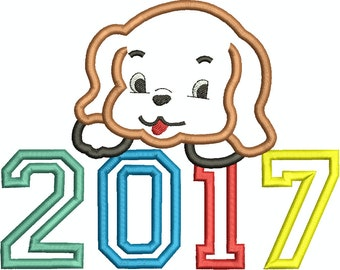 2017 Cute Puppy, New Years Puppy, Applique  Machine Embroidery Design 021