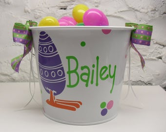 Custom Easter Basket ~ Personalized  Easter Egg Bucket ~ Custom Easter Pail  ~ 5 Quart bucket