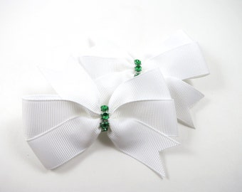 White Hair Bows - St Patricks Day Clips - Hair Bow Set - Pigtail Hair Bows - White and Green Hair Clips - Toddler Teenager Adult Hair Clip