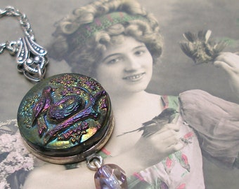 1800s BIRD BUTTON necklace, Victorian black glass with rainbow luster, on silver chain. Antique button jewellery.