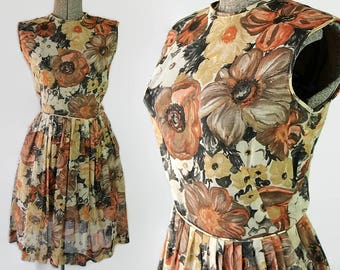 60s Dress, Fritzi of California, Sheer Floral Print, Summer Dress, Fit and Flare