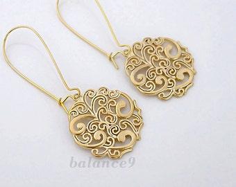 Gold dangle earrings, Gift jewelry, filigree disc drop spray pattern charm, long earrings, by balance9