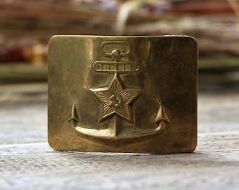 Soviet military belt buckle Soviet army uniform badge Navy buckle Anchor decor Steampunk clothing gift for him Buckle vintage Nautical decor