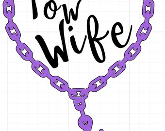 Tow Wife Heart Hook&Chain Decal