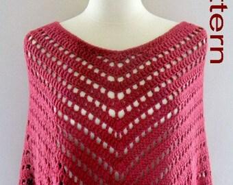PDF Pattern Crochet Poncho Wrap Bay Breeze Open Mesh Poncho Beautiful Fringe