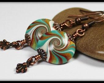 Treasure Isle... Handmade Jewelry Earrings Beaded Polymer Clay Teal Turquoise Aqua Green Bronze Antique Copper Swirl Spiral Lightweight