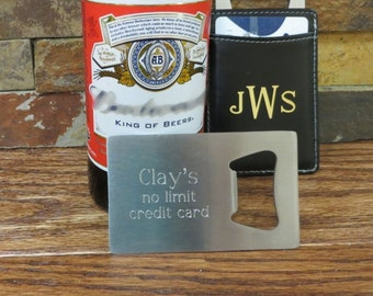 Credit Card Bottle Opener - Gifts for Men  - Groomsmen Gifts - Bar Accessories - (923)