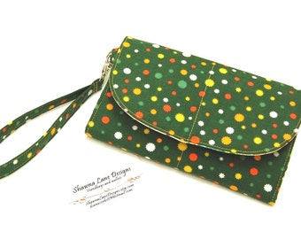 wristlet wallet, smart phone accessory, ready to ship gift, cell phone wristlet wallet, green wallet, small purse