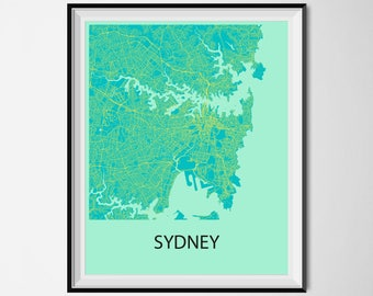 Sydney Map Poster Print - Blue and Yellow