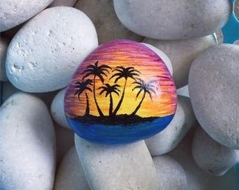 Palm Trees Hand Painted Stone