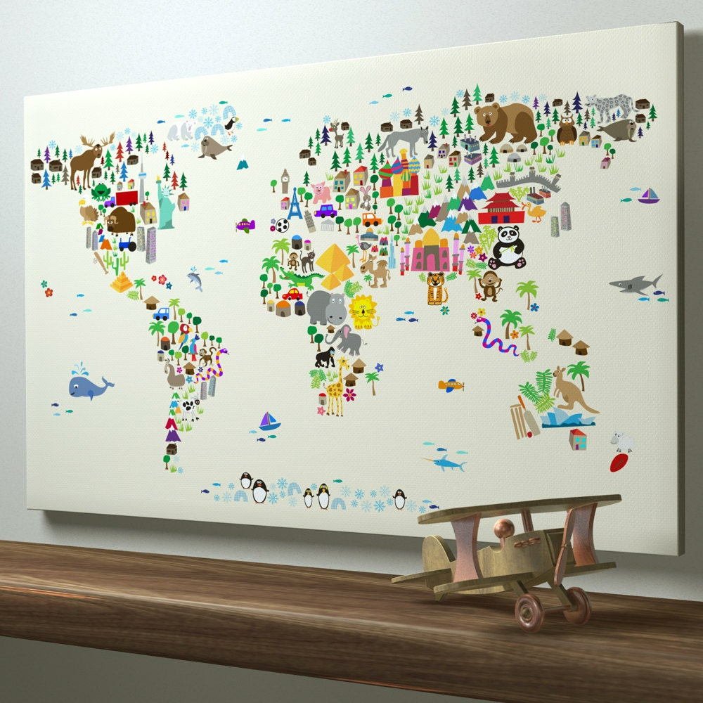 Animal Map of the World Map for children and kids, Canvas Art Print (612)