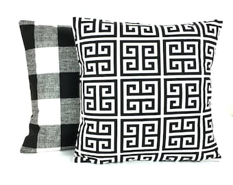 Black White Throw Pillow Cushion COVERS Decorative Pillow Black Home Decor Accent Sofa Pillow for Couch Check Pillow Greek Key Throw Pillow