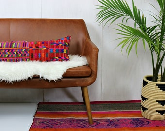 Guatemalan Throw Pillow Cover /Long Lumbar Hand Embroidered Huipil Red Fuchsia Yellow Green Violet Artisan Made Ethically Sourced Loom Woven