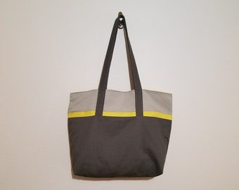 Tote Bag / Upcycled / Lt. Gray / Yellow / Dk. Gray