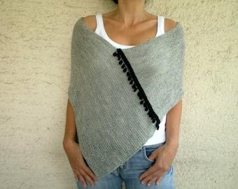 Gray Poncho, Gray Shawl, Knit Poncho with Pom pom Fringe, Winter Accessories, Holiday Fashion