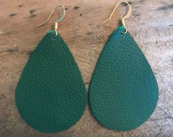 Emerald Green Teardrop Leather Earrings