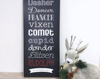 Reindeer Names Sign Christmas Decoration, Holiday Decor, Christmas Decor, Christmas Sign, Holiday Home Decor, 8x18 Reindeer Wooden Sign