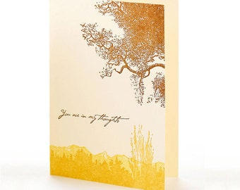 """Trees """"You are in my thoughts"""" letterpress card"""