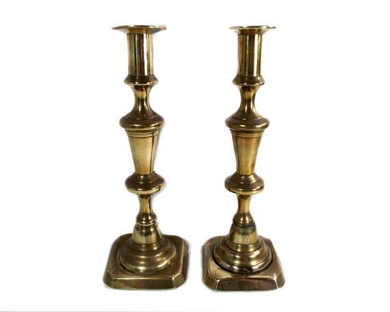 Tall Pair of English Antique Brass Candlesticks