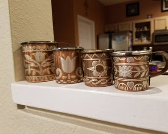 Vintage Silver and copper measuring cups, made in India four {4}