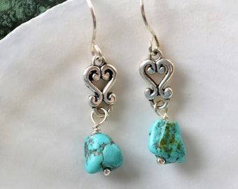 Sterling Silver and Turquoise Nugget Dangle Earrings