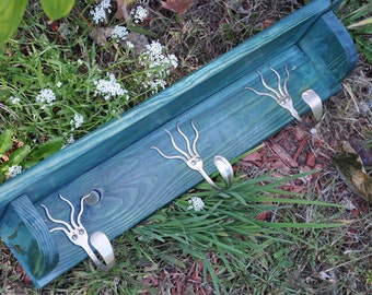 3 Funky Forks Coat Rack Shelf in Turquoise Stain Recycled Silverware
