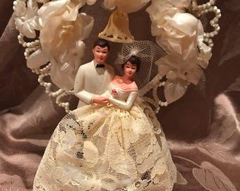Vintage Wedding Cake Topper Bride Groom