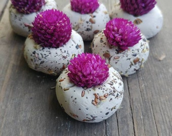 50 seed bombs purple gomphrena, ultra violet, wild flower seed, save the bees,   wedding favour, thank you, baby shower