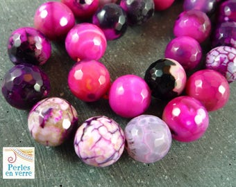 10 purple 10mm (pg22) and faceted Fuchsia agate beads