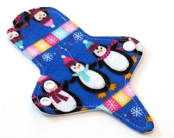 ULTRATHIN Reusable Cloth Pad 7 inch Adjustable Thong liner -Penguins- Cotton flannel top