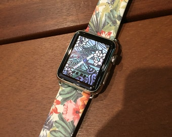 Apple Watch band 38mm women Apple watch band 42mm Handmade Apple Watch strap for Series 1 2 & 3 iWatch Leather strap  Colorful Floral Flower