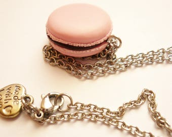 Raspberry chocolate macaroon necklace