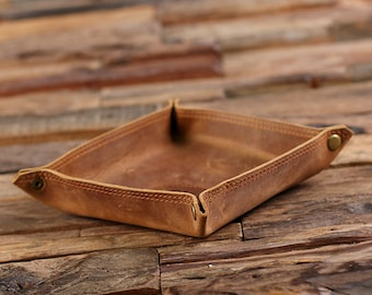 Personalized Engraved Collapsible Leather Valet Tray Coin Dish, Holder, Tray Groomsmen, Father's Day Christmas  Gift for Men, Dad, Boyfriend