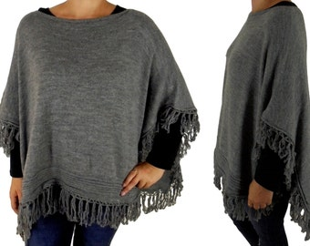 FD500 Poncho Cape Knit layered look one size grey
